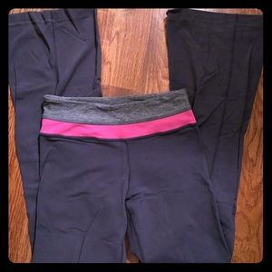 Grey Groove Flare Lululemon Pant with Pink Band